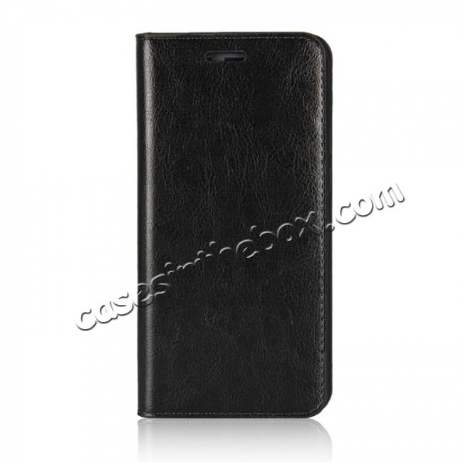 discount Crazy Horse Genuine Leather Case Flip Stand Card Slot for Huawei Honor 9 - Black