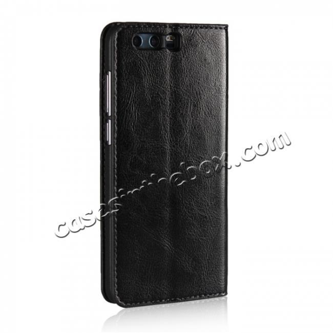 cheap Crazy Horse Genuine Leather Case Flip Stand Card Slot for Huawei Honor 9 - Black
