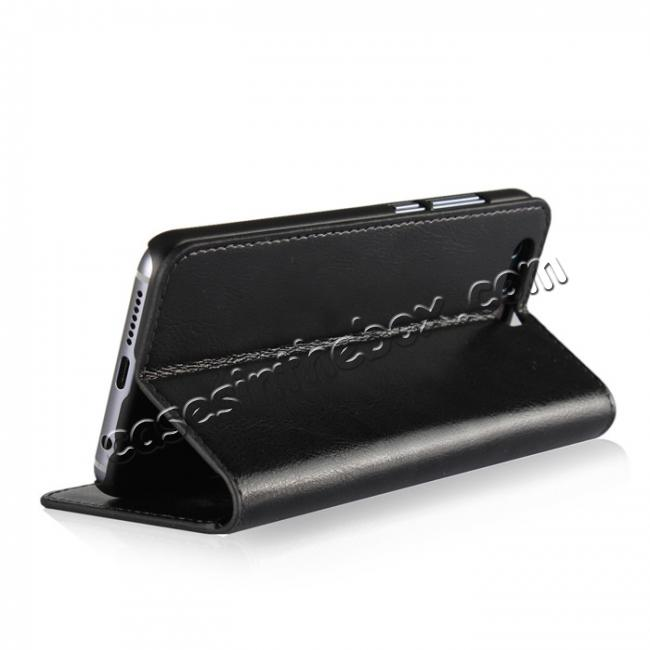 top quality Crazy Horse Genuine Leather Case Flip Stand Card Slot for Huawei Honor 9 - Black