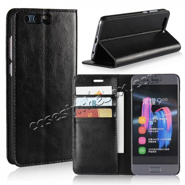 wholesale Crazy Horse Genuine Leather Case Flip Stand Card Slot for Huawei Honor 9 - Black