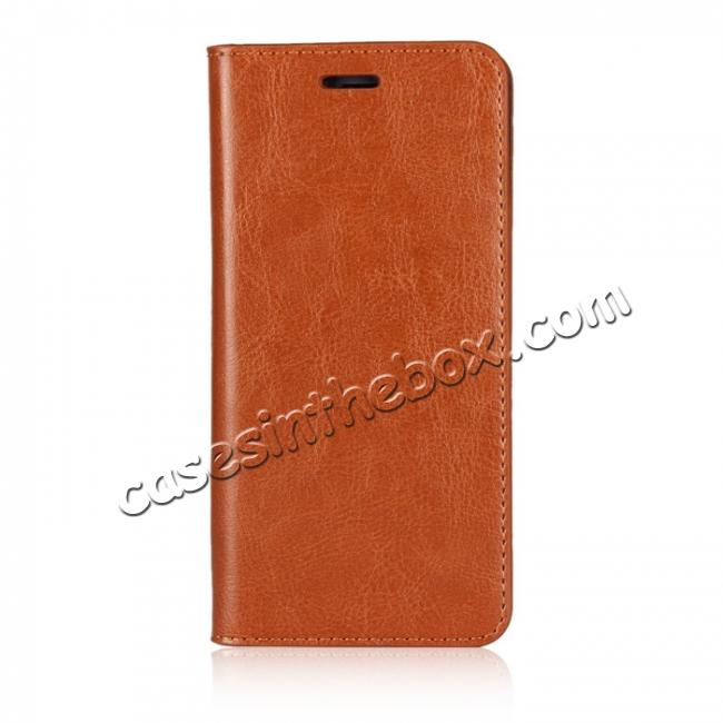 discount Crazy Horse Genuine Leather Case Flip Stand Card Slot for Huawei Honor 9 - Brown