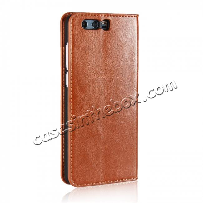 cheap Crazy Horse Genuine Leather Case Flip Stand Card Slot for Huawei Honor 9 - Brown