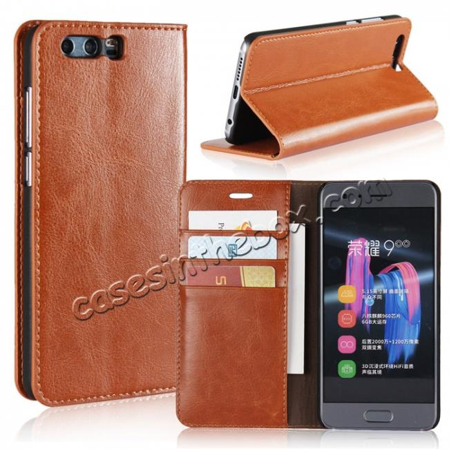 wholesale Crazy Horse Genuine Leather Case Flip Stand Card Slot for Huawei Honor 9 - Brown