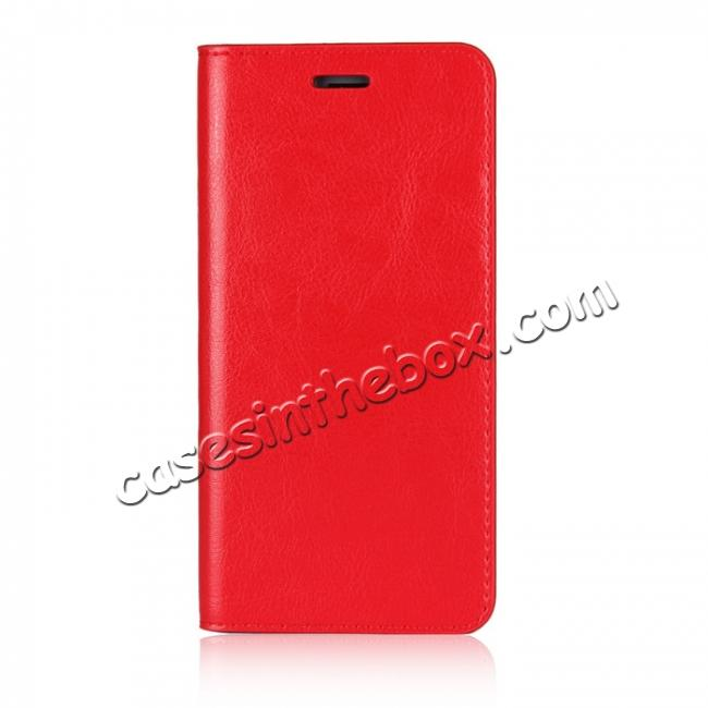 discount Crazy Horse Genuine Leather Case Flip Stand Card Slot for Huawei Honor 9 - Red