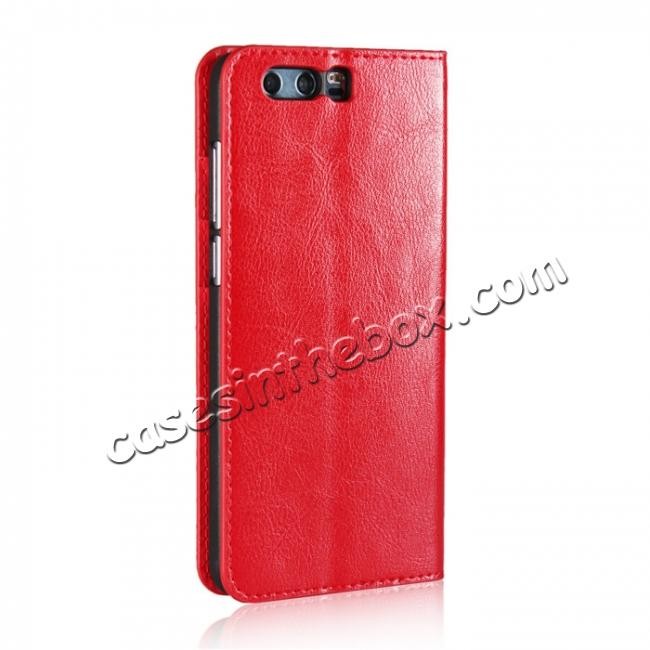 cheap Crazy Horse Genuine Leather Case Flip Stand Card Slot for Huawei Honor 9 - Red