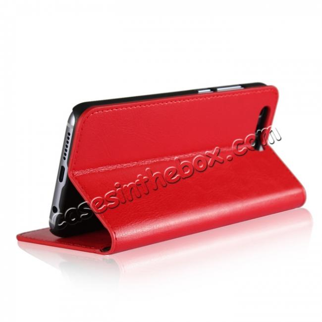 top quality Crazy Horse Genuine Leather Case Flip Stand Card Slot for Huawei Honor 9 - Red