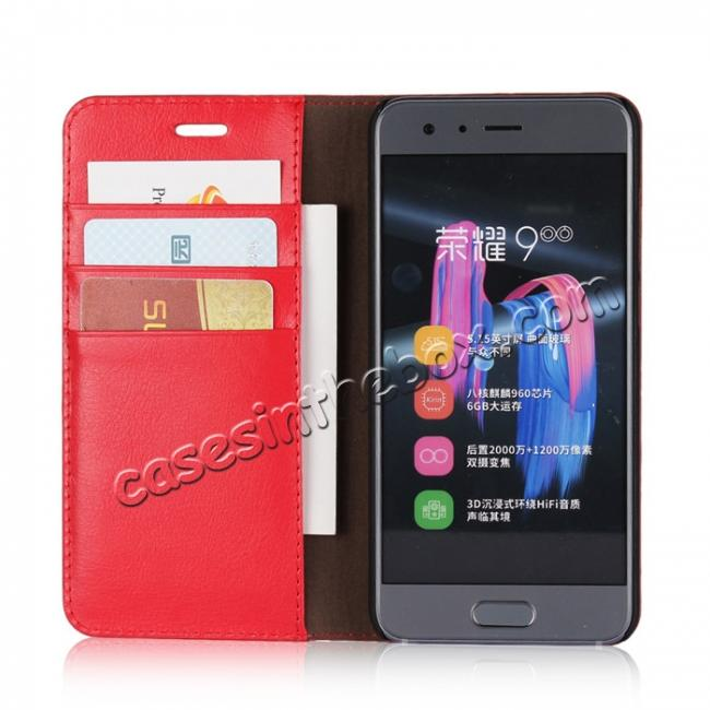 best price Crazy Horse Genuine Leather Case Flip Stand Card Slot for Huawei Honor 9 - Red