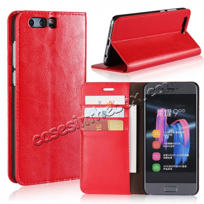 wholesale Crazy Horse Genuine Leather Case Flip Stand Card Slot for Huawei Honor 9 - Red