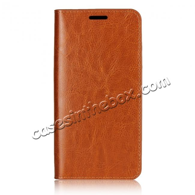 discount Crazy Horse Genuine Leather Case Flip Stand Card Slot  for Huawei P20 - Brown