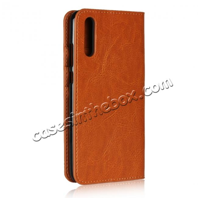 cheap Crazy Horse Genuine Leather Case Flip Stand Card Slot  for Huawei P20 - Brown