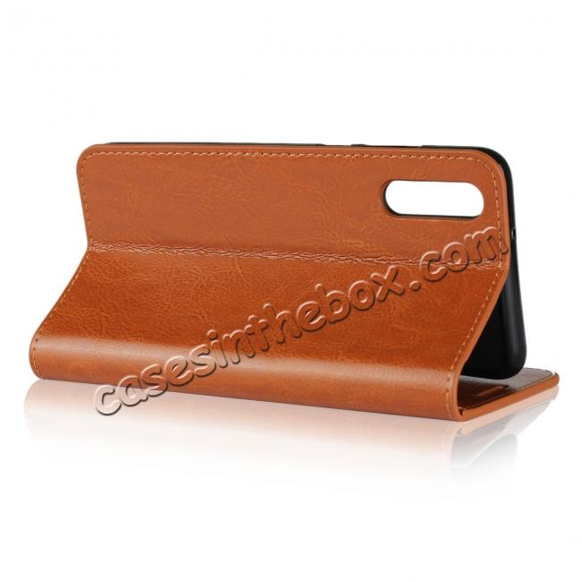 top quality Crazy Horse Genuine Leather Case Flip Stand Card Slot  for Huawei P20 - Brown