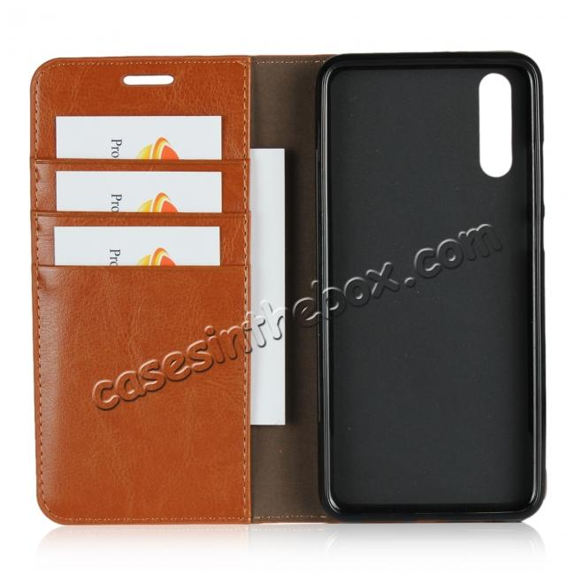 best price Crazy Horse Genuine Leather Case Flip Stand Card Slot  for Huawei P20 - Brown