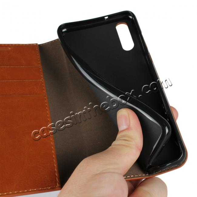 on sale Crazy Horse Genuine Leather Case Flip Stand Card Slot  for Huawei P20 - Brown