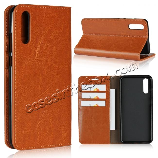 wholesale Crazy Horse Genuine Leather Case Flip Stand Card Slot  for Huawei P20 - Brown