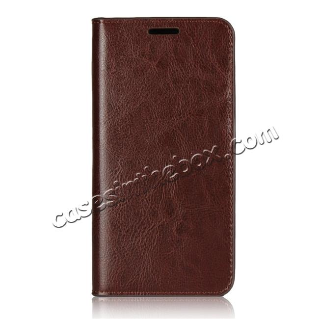 discount Crazy Horse Genuine Leather Case Flip Stand Card Slot  for Huawei P20 - Coffee