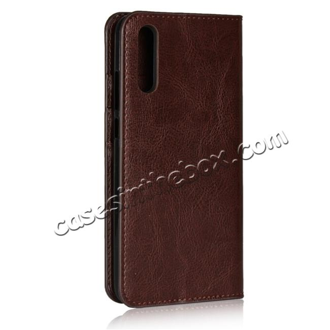cheap Crazy Horse Genuine Leather Case Flip Stand Card Slot  for Huawei P20 - Coffee