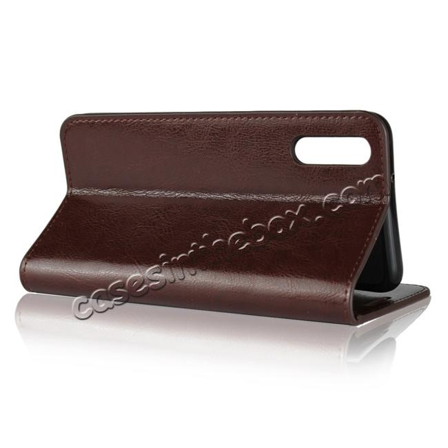 top quality Crazy Horse Genuine Leather Case Flip Stand Card Slot  for Huawei P20 - Coffee