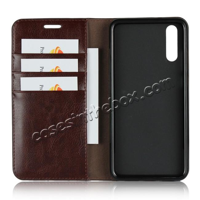 best price Crazy Horse Genuine Leather Case Flip Stand Card Slot  for Huawei P20 - Coffee