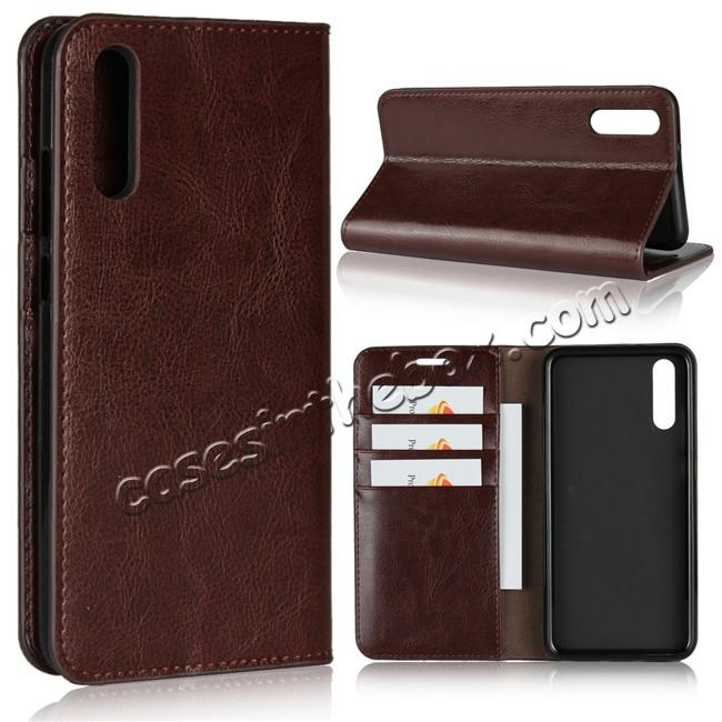wholesale Crazy Horse Genuine Leather Case Flip Stand Card Slot  for Huawei P20 - Coffee