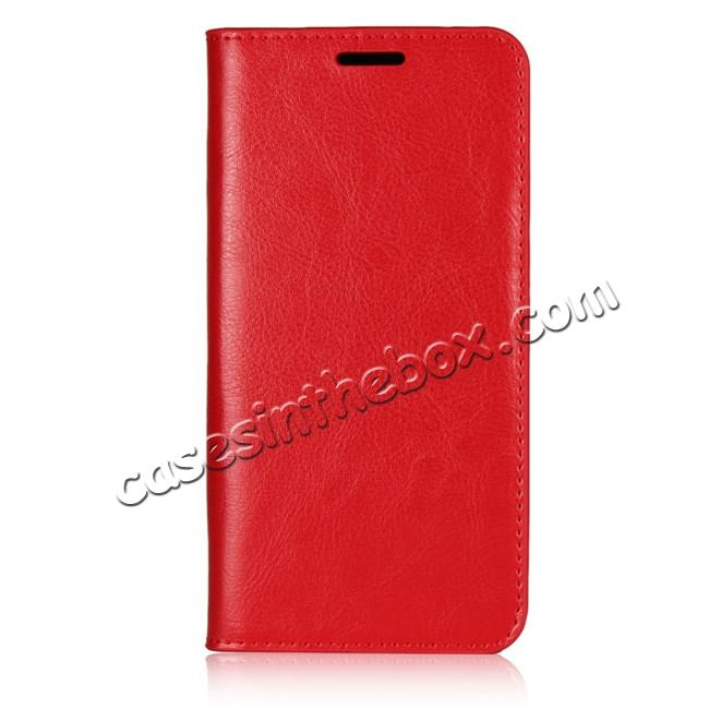 discount Crazy Horse Genuine Leather Case Flip Stand Card Slot  for Huawei P20 - Red