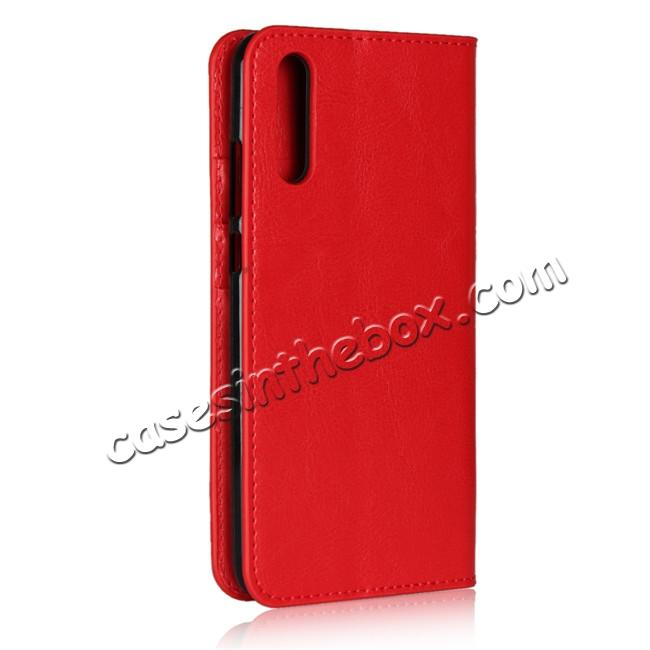 cheap Crazy Horse Genuine Leather Case Flip Stand Card Slot  for Huawei P20 - Red