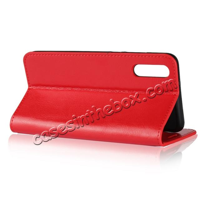 top quality Crazy Horse Genuine Leather Case Flip Stand Card Slot  for Huawei P20 - Red