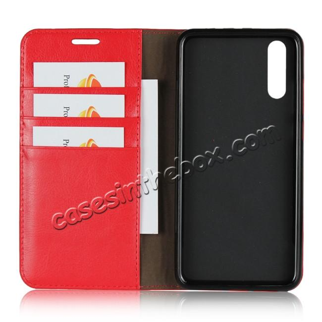 best price Crazy Horse Genuine Leather Case Flip Stand Card Slot  for Huawei P20 - Red