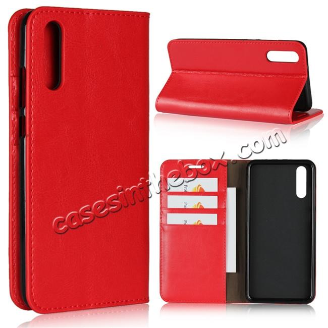 wholesale Crazy Horse Genuine Leather Case Flip Stand Card Slot  for Huawei P20 - Red