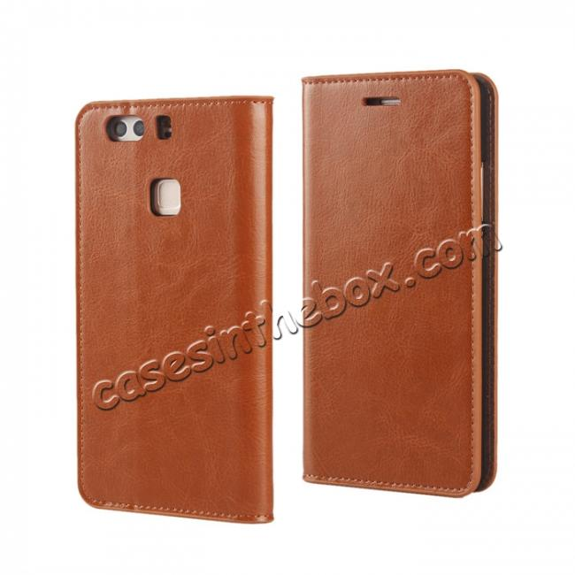 wholesale Crazy Horse Genuine Leather Case Flip Stand Card Slot for HUAWEI P9 Plus - Brown