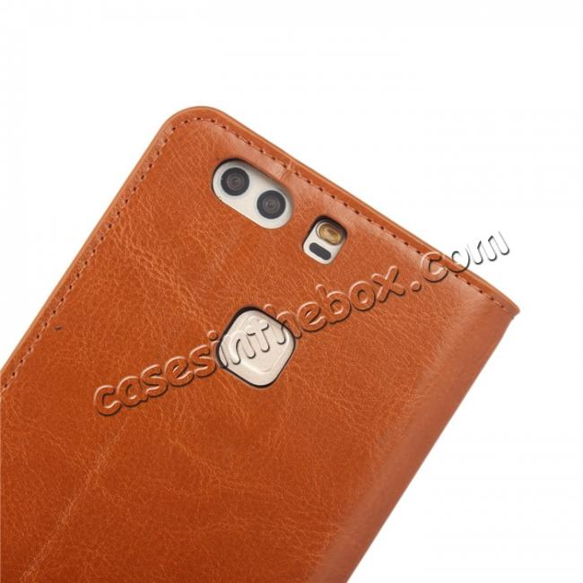 top quality Crazy Horse Genuine Leather Case Flip Stand Card Slot for HUAWEI P9 Plus - Brown