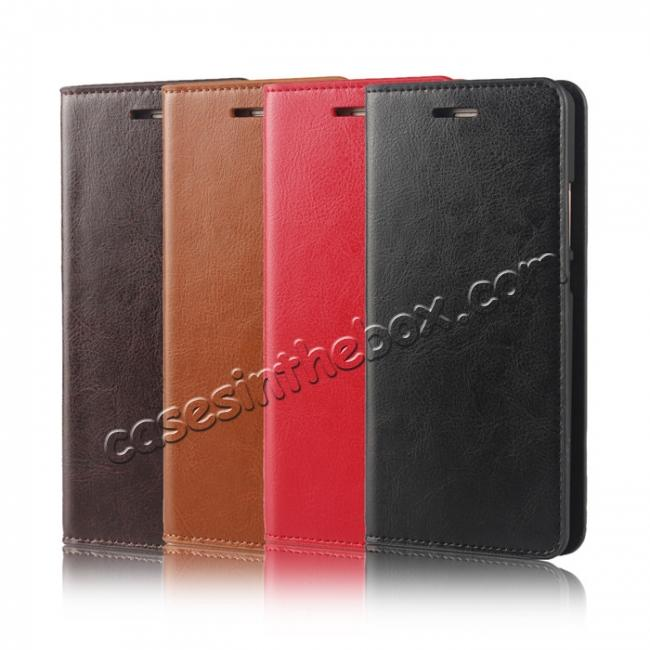 best price Crazy Horse Genuine Leather Case Flip Stand Card Slot for HUAWEI P9 Plus - Red