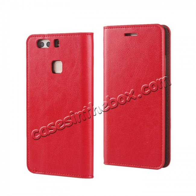 wholesale Crazy Horse Genuine Leather Case Flip Stand Card Slot for HUAWEI P9 Plus - Red