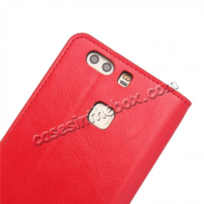 top quality Crazy Horse Genuine Leather Case Flip Stand Card Slot for HUAWEI P9 Plus - Red