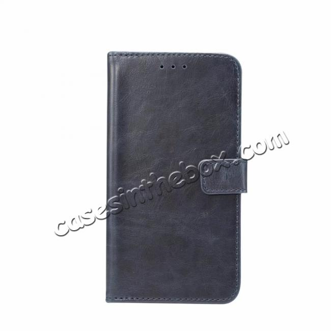 wholesale Crazy Horse Leather Flip Case Wallet Stand Card Holder for Samsung Galaxy S9 - Dark Blue