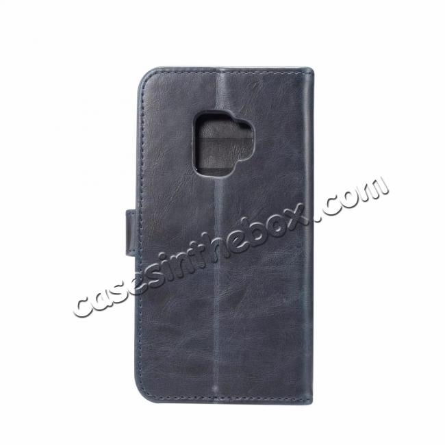 discount Crazy Horse Leather Flip Case Wallet Stand Card Holder for Samsung Galaxy S9 - Dark Blue