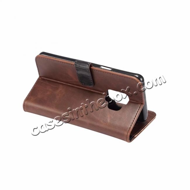 cheap Crazy Horse Leather Flip Case Wallet Stand Card Holder for Samsung Galaxy S9 - Dark Brown