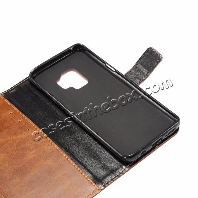 top quality Crazy Horse Leather Flip Case Wallet Stand Card Holder for Samsung Galaxy S9 - Dark Brown