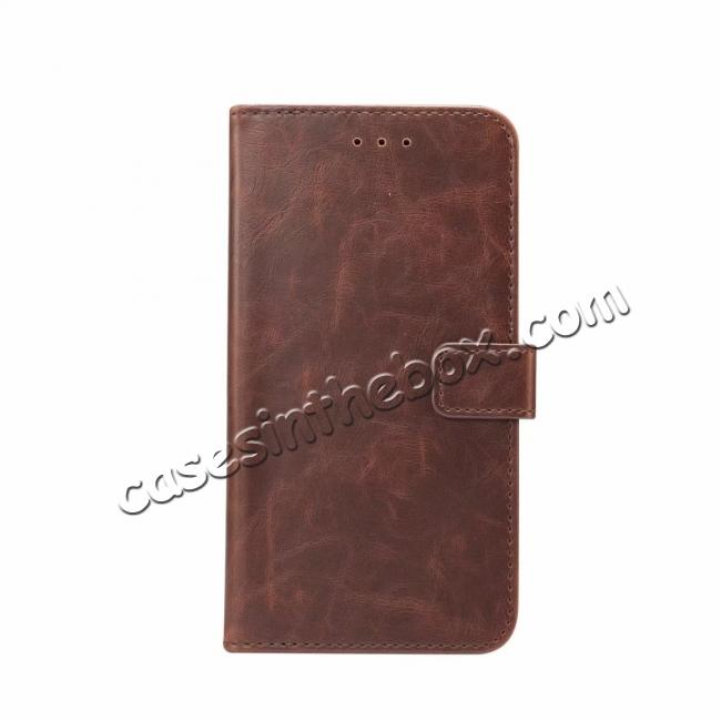 wholesale Crazy Horse Leather Flip Case Wallet Stand Card Holder for Samsung Galaxy S9 - Dark Brown