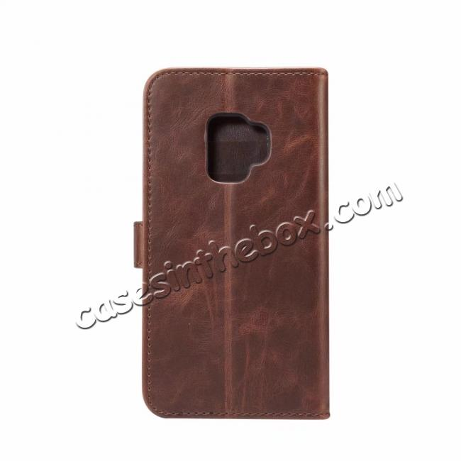 discount Crazy Horse Leather Flip Case Wallet Stand Card Holder for Samsung Galaxy S9 - Dark Brown
