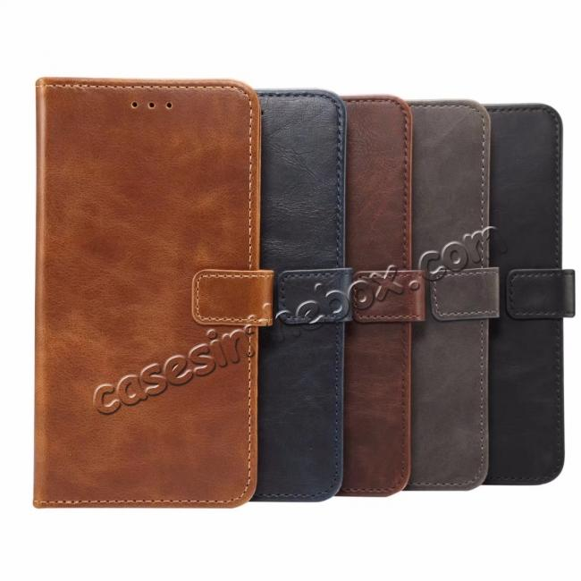 low price Crazy Horse Leather Flip Case Wallet Stand Card Holder for Samsung Galaxy S9 - Light Brown