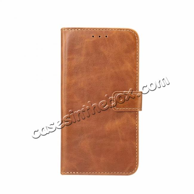 wholesale Crazy Horse Leather Flip Case Wallet Stand Card Holder for Samsung Galaxy S9 - Light Brown