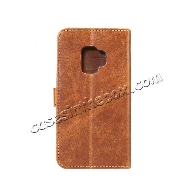 discount Crazy Horse Leather Flip Case Wallet Stand Card Holder for Samsung Galaxy S9 - Light Brown