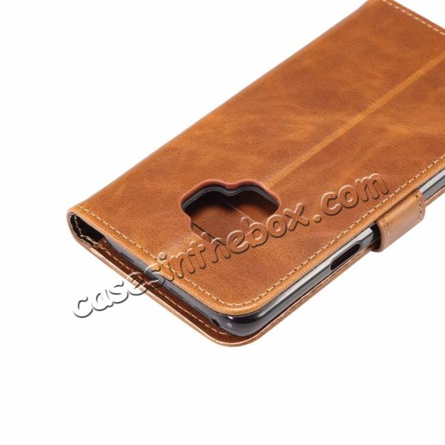 top quality Crazy Horse Leather Flip Case Wallet Stand Card Holder for Samsung Galaxy S9 - Light Brown