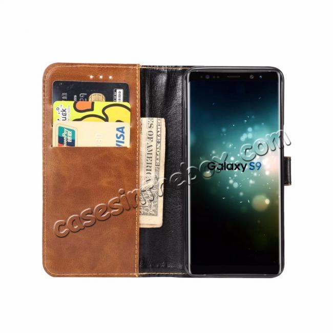 on sale Crazy Horse Leather Flip Case Wallet Stand Card Holder for Samsung Galaxy S9 - Light Brown