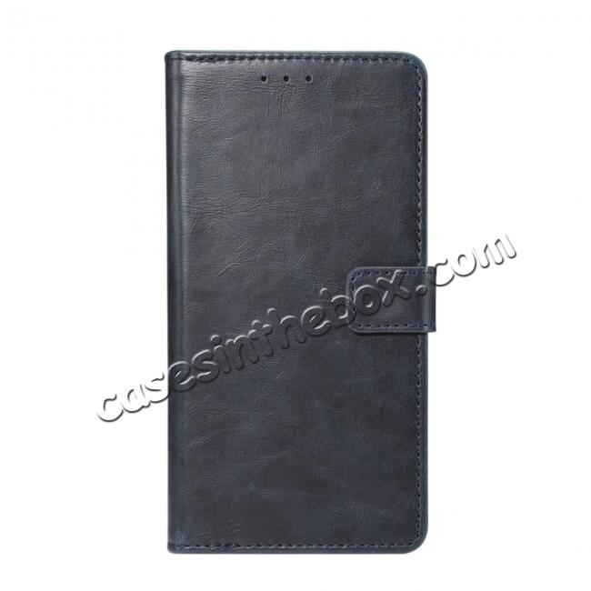 wholesale Crazy Horse Leather Flip Case Wallet With Card Holder for Huawei P20 - Dark Blue