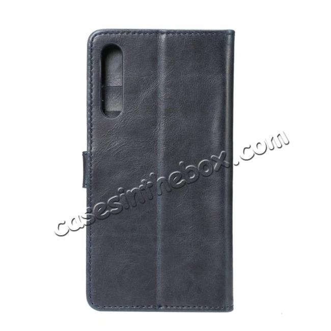 discount Crazy Horse Leather Flip Case Wallet With Card Holder for Huawei P20 - Dark Blue