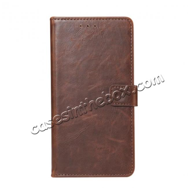 wholesale Crazy Horse Leather Flip Case Wallet With Card Holder for Huawei P20 - Dark Brown