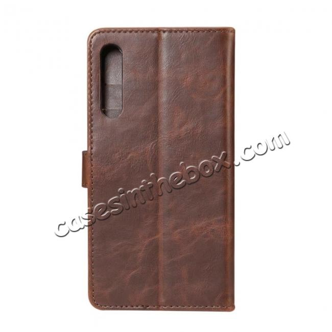 discount Crazy Horse Leather Flip Case Wallet With Card Holder for Huawei P20 - Dark Brown