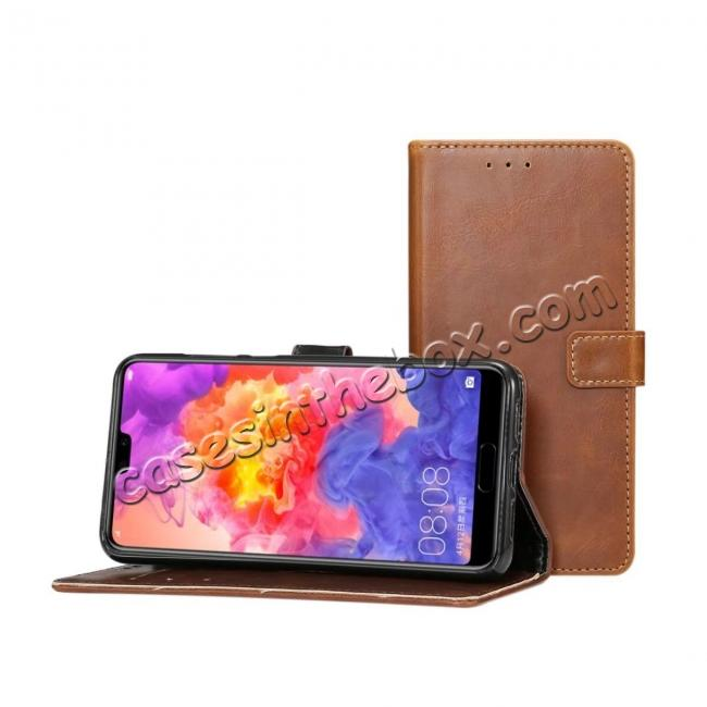 cheap Crazy Horse Leather Flip Case Wallet With Card Holder for Huawei P20 - Dark Brown