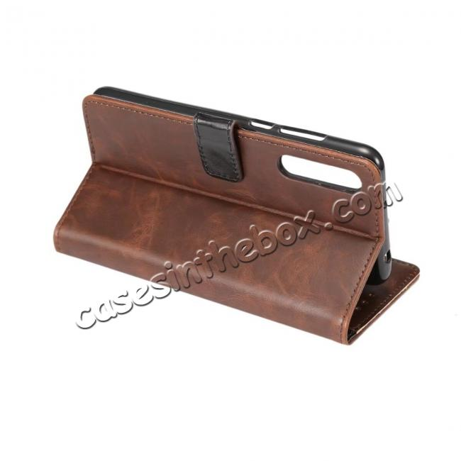 best price Crazy Horse Leather Flip Case Wallet With Card Holder for Huawei P20 - Dark Brown